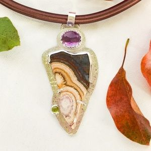 Petrified wood and Amethyst pendant